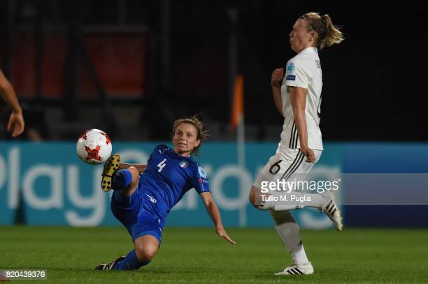 Daniela Stracchi of Italy and Kristin Demann of Germany compete for the ball during the UEFA Women's Euro 2017 Group B match between Germany and...