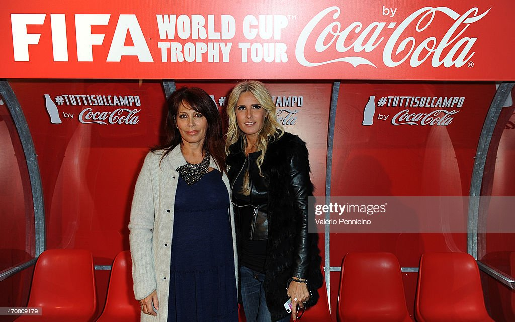 Daniela Vergara (L) and Tiziana Rocca attend a party during day two of the FIFA World Cup Trophy Tour on February 20, 2014 in Rome, Italy.