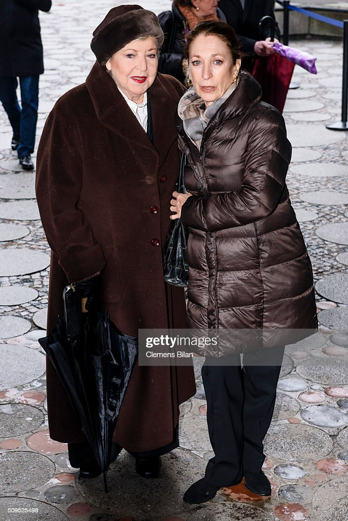 Daniela Ziegler (R) and <a gi-track='captionPersonalityLinkClicked' href=/galleries/search?phrase=Marie-Luise+Marjan&family=editorial&specificpeople=234390 ng-click='$event.stopPropagation()'>Marie-Luise Marjan</a>attends the Wolfgang Rademann memorial service on February 11, 2016 in Berlin, Germany.