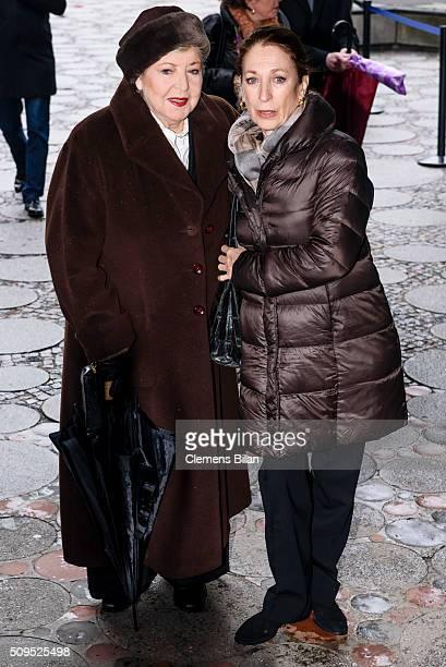 Daniela Ziegler and MarieLuise Marjanattends the Wolfgang Rademann memorial service on February 11 2016 in Berlin Germany