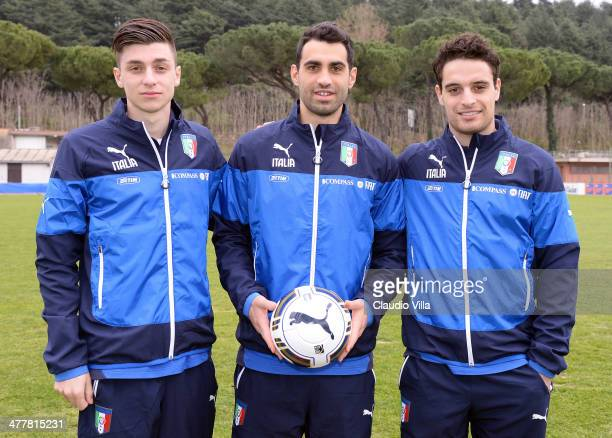 Daniele Baselli Davide Brivio and Giacomo Bonaventura of Italy during Italy Training Camp Day 2 at Acqua Acetosa on March 11 2014 in Rome Italy