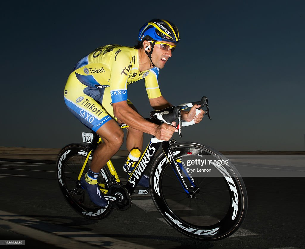 <a gi-track='captionPersonalityLinkClicked' href=/galleries/search?phrase=Daniele+Bennati&family=editorial&specificpeople=584838 ng-click='$event.stopPropagation()'>Daniele Bennati</a> of Denmark and Tinkoff-Saxo in action during stage three of the Tour of Qatar, a 10.9km individual time trial at the Lusail Circuit on February 11, 2014 in Doha, Qatar.