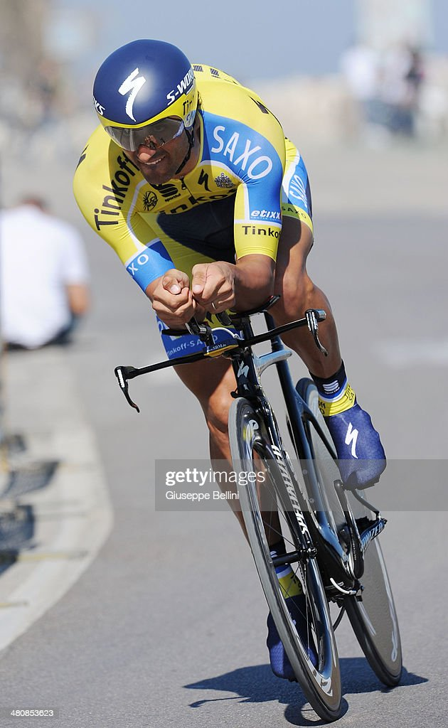 <a gi-track='captionPersonalityLinkClicked' href=/galleries/search?phrase=Daniele+Bennati&family=editorial&specificpeople=584838 ng-click='$event.stopPropagation()'>Daniele Bennati</a> of Tinkoff Saxo in action during stage seven of the 2014 Tirreno Adriatico, a 9.1 km individual time trial stage on March 18, 2014 in San Benedetto del Tronto, Italy.