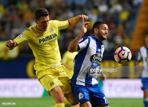 Daniele Bonera of Villarreal CF and Florin Andone of Deportivo de la Coruna during their La Liga match between Villarreal CF and Deportivo de la...