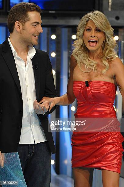 Daniele Bossari and Maddalena Corvaglia during 'Scalo 76' Italian tv show on February 02 2008 in Milan Italy