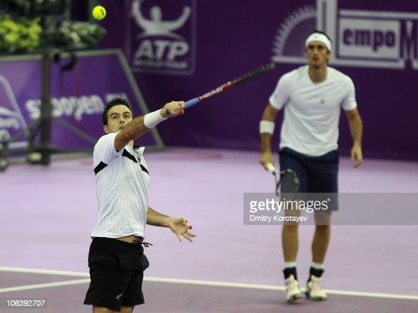 Daniele Bracciali and Potito Starace of Italy play against Rohan Bopanna of India and AisamUlHag Qureshi of Pakistan during doubles final of the...