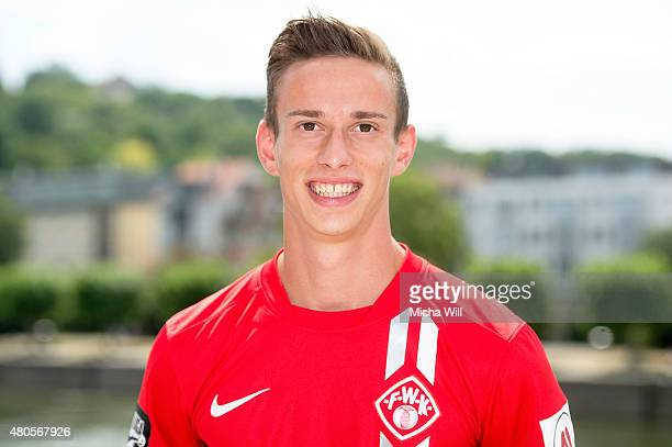 WUERZBURG GERMANY JULY Daniele Bruno poses during the Wuerzburger Kickers team presentation at Kranenkai on July 12 2015 in Wuerzburg Germany