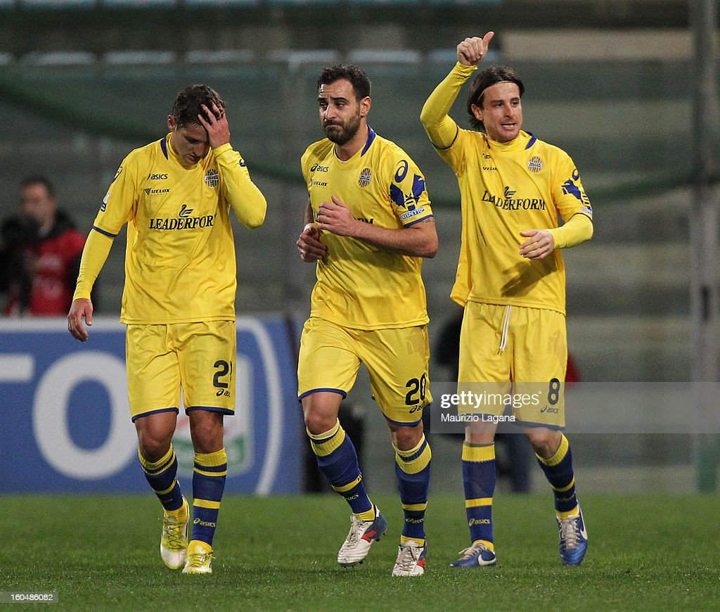 Daniele Cacia (R) of Verona celebrates the opening goal during the Serie B match between Reggina Calcio and Hellas Verona at Stadio Oreste Granillo on February 1, 2013 in Reggio Calabria, Italy.