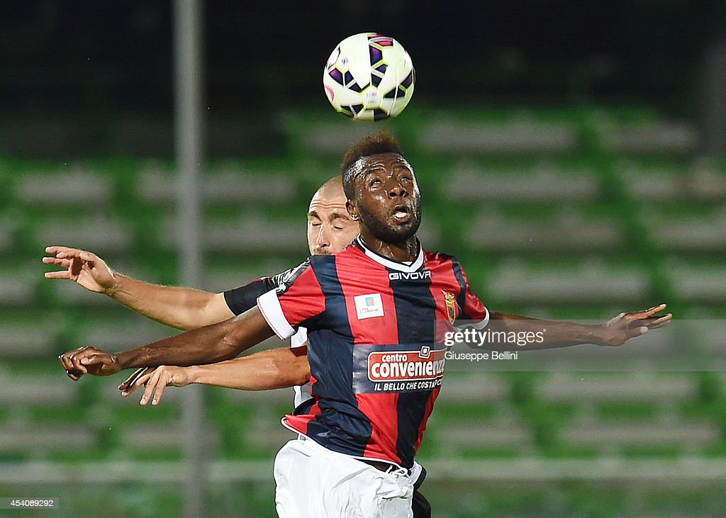 Daniele Capelli of Cesena and Adama Diakitè of Casertana in action during the TIM Cup match between AC Cesena and Casertana at Dino Manuzzi Stadium on August 24, 2014 in Cesena, Italy.