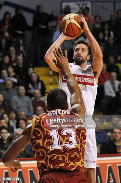 Daniele Cavaliero of Openjobmetis competes with Josh Owens of Umana during the match of LegaBasket between Reyer Umana Venezia and Openjobmetis...