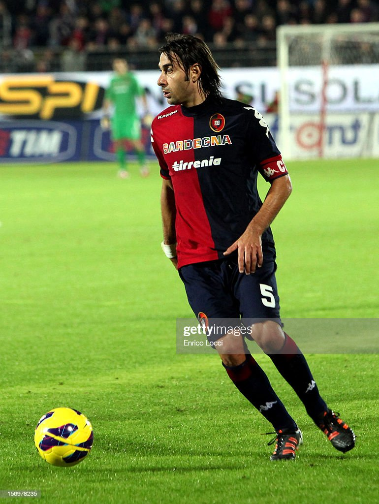 Daniele Conti of Cagliari during the Serie A match between Cagliari Calcio and SSC Napoli at Stadio Sant'Elia on November 26, 2012 in Cagliari, Italy.