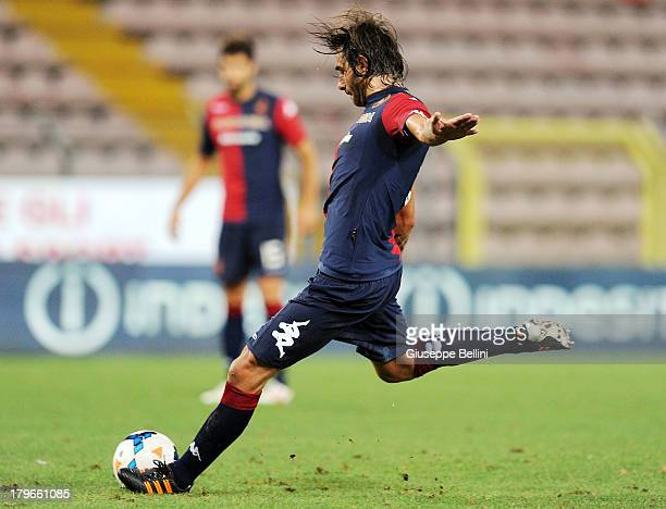 Daniele Conti of Cagliari in action during the Serie A match between Cagliari Calcio and Atalanta BC at Stadio Nereo Rocco on August 25 2013 in...