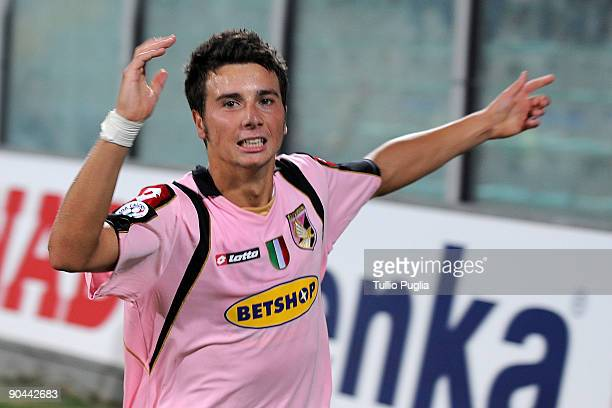 Daniele Conti of Palermo celebrates after scoring Palermo's second goal during the Supercoppa Primavera TIM Final between US Citta di Palermo and...
