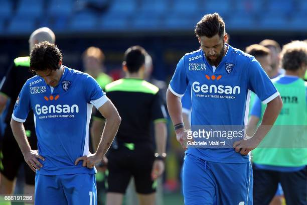 Daniele Croce and Levan Mchedlidze of Empoli FC shows his dejection during the Serie A match between Empoli FC and Pescara Calcio at Stadio Carlo...