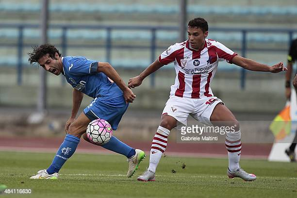Daniele Croce of Empoli FC battles for the ball with Alessio Vita of Vicenza Calcio during the TIM Cup match between Empoli FC and Vicenza Calcio at...