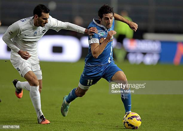 Daniele Croce of Empoli FC battles for the ball with Davide Zappacosta of Atalanta BC during the Serie A match between Empoli FC and Atalanta BC at...
