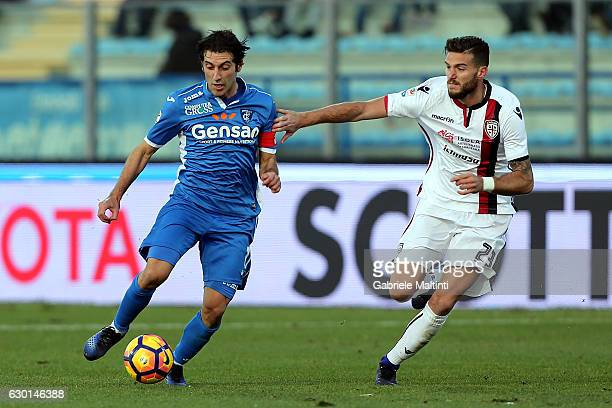 Daniele Croce of Empoli FC battles for the ball with Luca Ceppitelli of Cagliari Calcio during the Serie A match between Empoli FC and Cagliari...