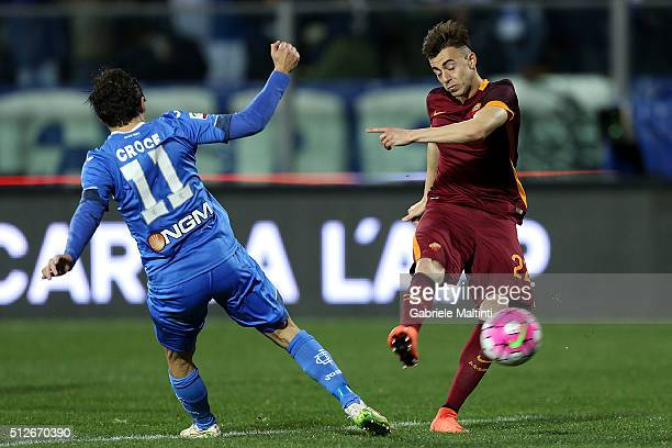 Daniele Croce of Empoli FC battles for the ball with Stephan El Shaarawy of AS Roma during the Serie A match between Empoli FC and AS Roma at Stadio...
