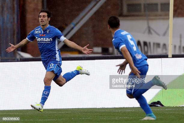 Daniele Croce of Empoli FC celebrates after scoring a goal during the Serie A match between Empoli FC and Bologna FC at Stadio Carlo Castellani on...