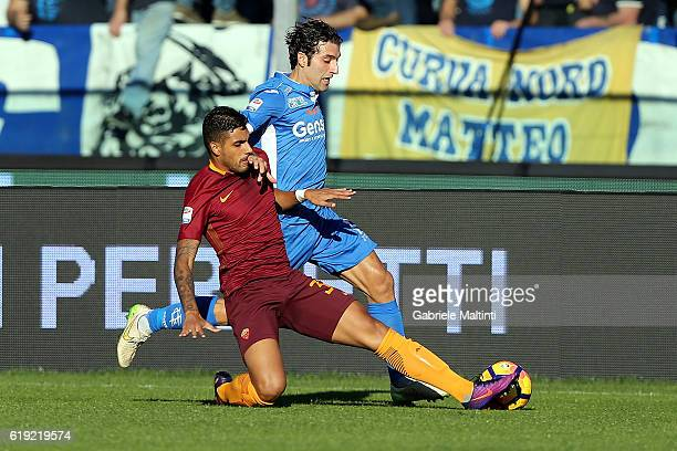 Daniele Croce of Empoli Fc for the ball with Emerson Palmieri of AS Roma during the Serie A match between Empoli FC and AS Roma at Stadio Carlo...