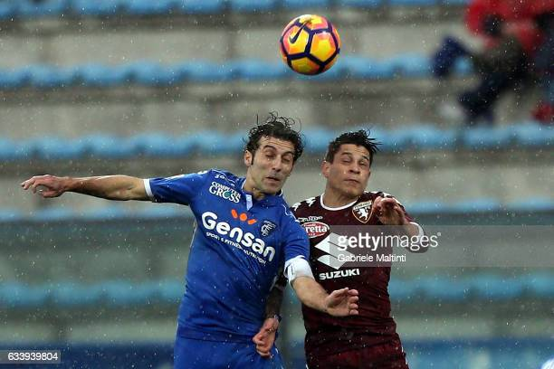 Daniele Croce of Empoli Fc in action agaist Juan Manuel Iturbe of FC Torino during the Serie A match between Empoli FC and FC Torino at Stadio Carlo...