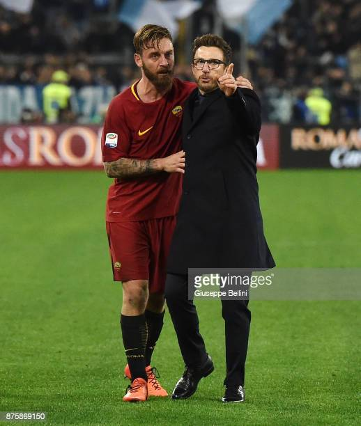 Daniele De Rossi and Eusebio Di Francesco head coach of AS Roma celebrate the victory after the Serie A match between AS Roma and SS Lazio at Stadio...