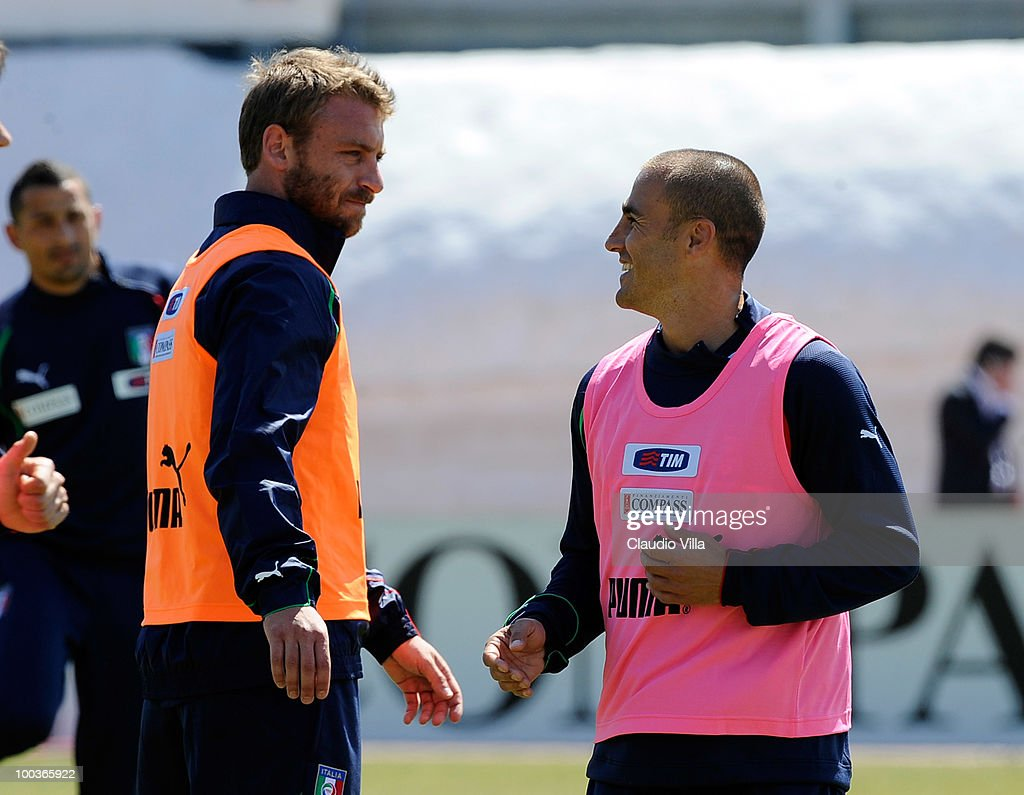 Daniele De Rossi and Fabio Cannavaro of Italy during the Italy Training Session on May 24, 2010 in Sestriere near Turin, Italy.
