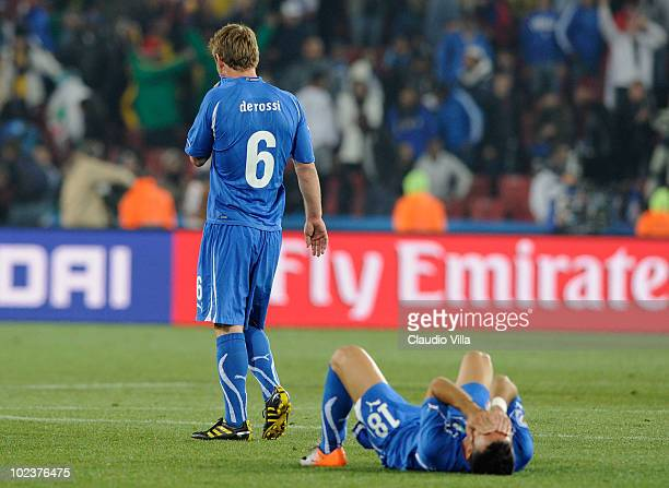 Daniele De Rossi and Fabio Quagliarella of Italy look dejected during the 2010 FIFA World Cup South Africa Group F match between Slovakia and Italy...