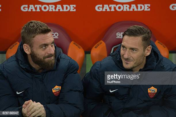 Daniele De Rossi and Francesco Totti during the Italian Serie A football match between AS Roma and Pescara at the Olympic Stadium in Rome on november...