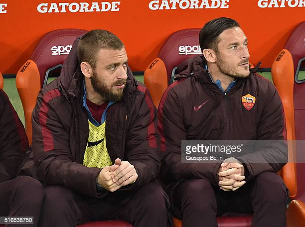 Daniele De Rossi and Francesco Totti of AS Roma during the Serie A match between AS Roma and FC Internazionale Milano at Stadio Olimpico on March 19...