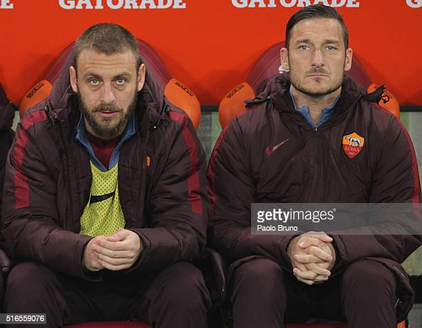 Daniele De Rossi and Francesco Totti of AS Roma look on during the Serie A match between AS Roma and FC Internazionale Milano at Stadio Olimpico on...