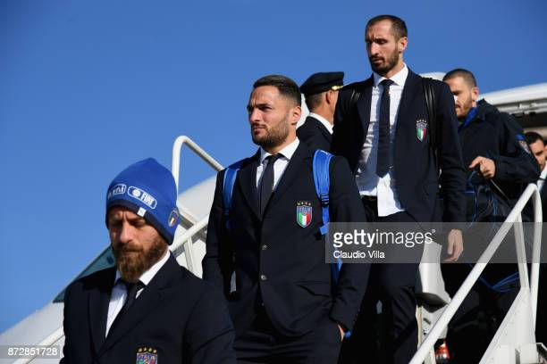 Daniele De Rossi Danilo D'Ambrosio and Giorgio Chiellini of Italy arrive at Malpensa airport on November 11 2017 in Milan Italy