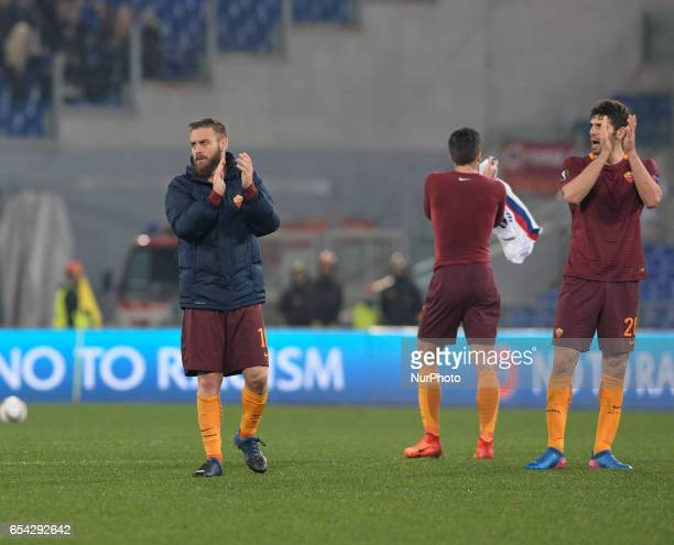 Daniele De Rossi Federico Fazio during the Europe League football match AS Roma vs Olympique Lyonnais at the Olympic Stadium in Rome on march 16 2017
