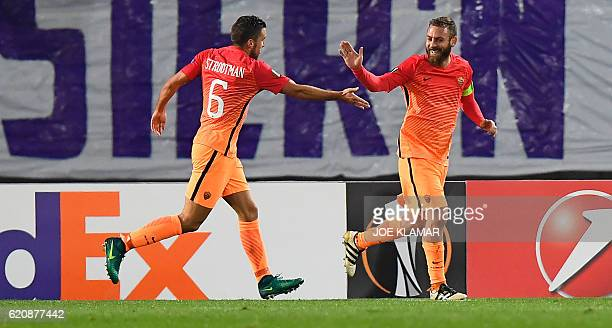 Daniele De Rossi of AS Roma and Kevin Strootman of AS Roma celebrate scoring during the UEFA Europa League group E football match between Austria...