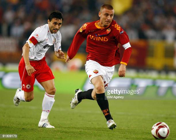 Daniele De Rossi of AS Roma and Todor Yankev of PFC CSKA Sofia in action during the UEFA Europa League Group E match between AS Roma and PFC CSKA...