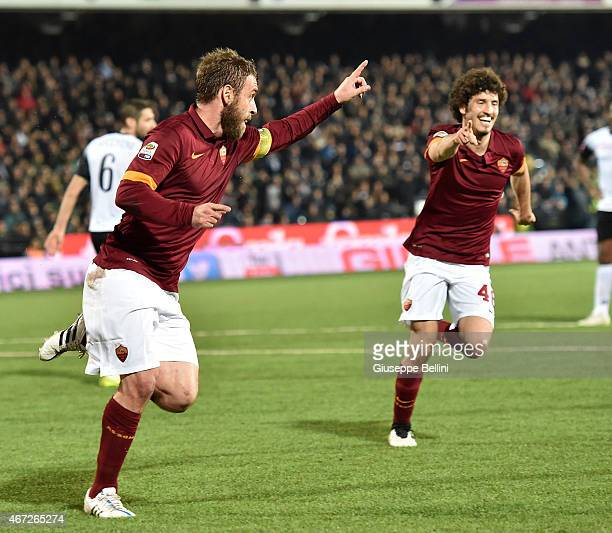 Daniele De Rossi of AS Roma celebrates after scoring the opening goal during the Serie A match between AC Cesena and AS Roma at Dino Manuzzi Stadium...