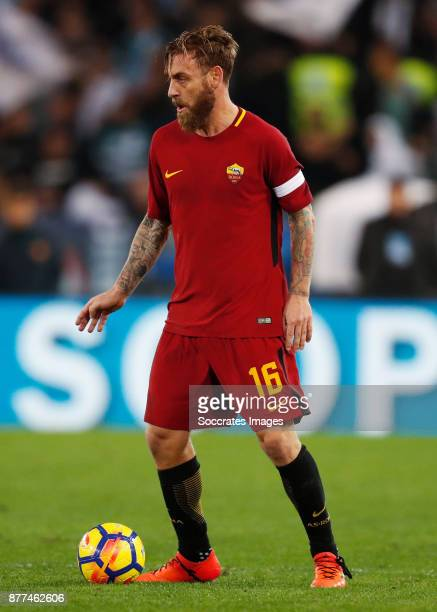 Daniele de Rossi of AS Roma during the Italian Serie A match between AS Roma v Lazio at the Stadio Olimpico on November 18 2017 in Rome Italy
