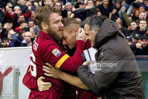 Daniele De Rossi of AS Roma Francesco Totti of AS Roma during the Serie A match between AS Roma and Lazio Roma on January 112014 at the Stadio...