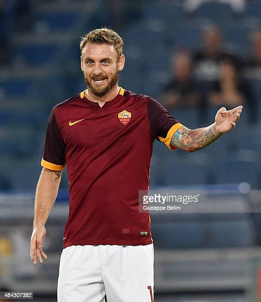 Daniele De Rossi of AS Roma in action during the preseason friendly match between AS Roma and Sevilla FC at Olimpico Stadium on August 14 2015 in...