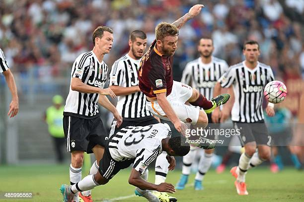 Daniele De Rossi of AS Roma in action during the Serie A soccer match between AS Roma and Juventus FC at Stadio Olimpico on August 30 2015 in Rome...