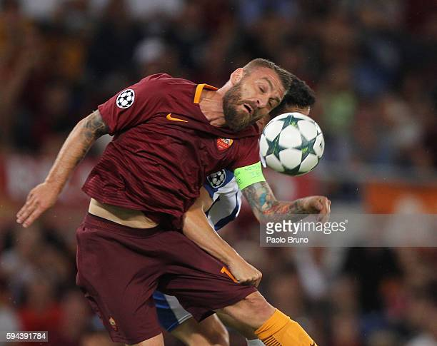 Daniele De Rossi of AS Roma in action during the UEFA Champions League qualifying playoff round second leg match between AS Roma and FC Porto at...