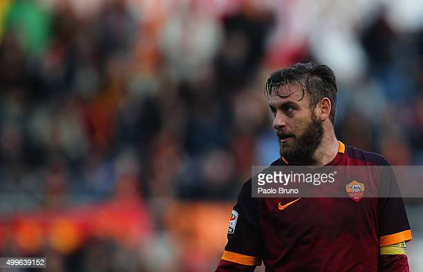 Daniele De Rossi of AS Roma looks on during the Serie A match between AS Roma and Atalanta BC at Stadio Olimpico on November 29 2015 in Rome Italy