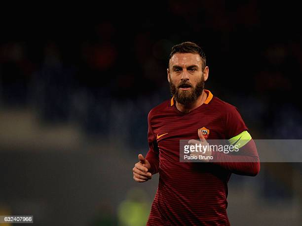 Daniele De Rossi of AS Roma looks on during the Serie A match between AS Roma and Cagliari Calcio at Stadio Olimpico on January 22 2017 in Rome Italy