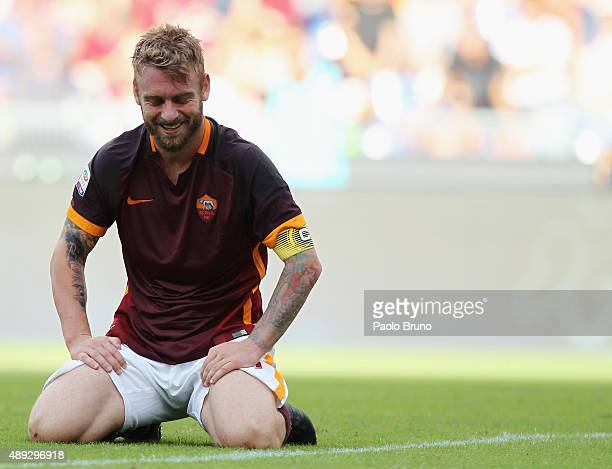 Daniele De Rossi of AS Roma reacts during the Serie A match between AS Roma and US Sassuolo Calcio at Stadio Olimpico on September 20 2015 in Rome...