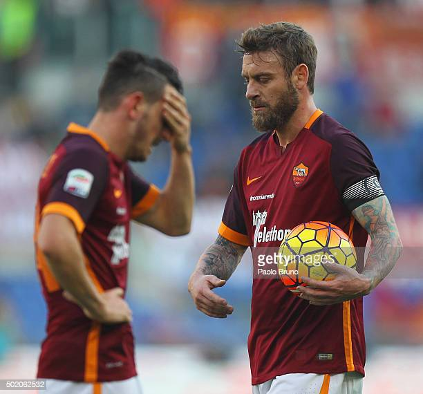 Daniele De Rossi of AS Roma reacts during the Serie A match between AS Roma and Genoa CFC at Stadio Olimpico on December 20 2015 in Rome Italy