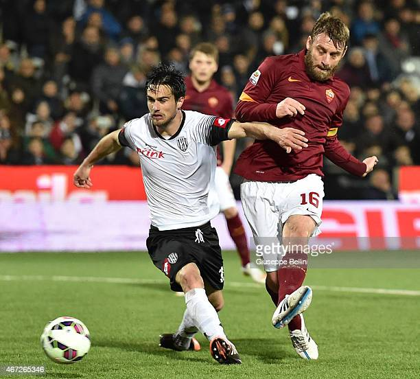 Daniele De Rossi of AS Roma scores the opening goal during the Serie A match between AC Cesena and AS Roma at Dino Manuzzi Stadium on March 22 2015...