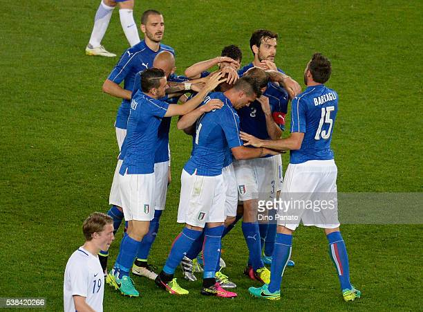 Daniele De Rossi of Italy celebrates after scoring his team's second goal during the international friendly match between Italy and Finland on June 6...