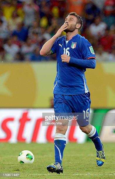 Daniele De Rossi of Italy celebrates his team's fourth goal during the FIFA Confederations Cup Brazil 2013 Group A match between Italy and Japan at...