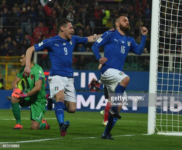 Daniele De Rossi of Italy celebrates whit Andrea Belotti after scoring a penalty during the FIFA 2018 World Cup Qualifier between Italy and Albania...