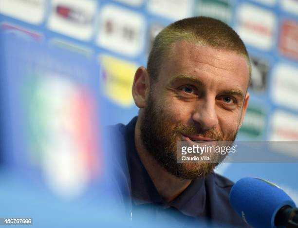 Daniele De Rossi of Italy reacts during press conference on June 17 2014 in Rio de Janeiro Brazil